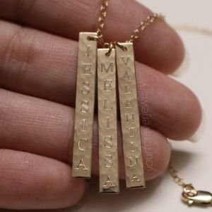 Jewelry - 14K Gold Filled Hammered Engraved 3 Bars Necklace